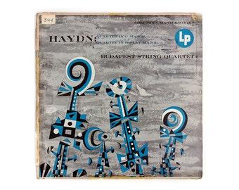 """Jim Flora record album design, 1954. """"Haydn: Quartet in C Major; Quartet in B-Flat Major"""" LP"""