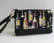 Wristlet in Black with Wine Bottles and Glasses and Genuine Leather Bottom and Strap