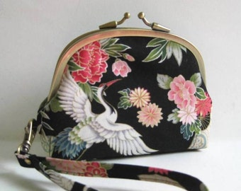 Double Frame Wristlet in Black with Japanese Cranes and Flowers