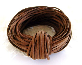 High Quality Suede Cord 3x1,5mm, Brown, High Quality Suede Lace, Vegan Cord - Sold in 2 yards/ 1,85m approx. Lengths