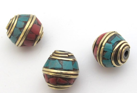 Tibetan bicone shape brass beads with turquoise coral inlay  -  2 beads - BD484