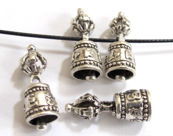 2 BEADS - Beautiful Tibetan om mantra dorje vajra silver plated bell beads mala spacer  - BD563