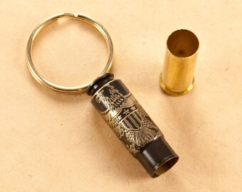 Time capsule bullet casing key chain - Proud To Be American