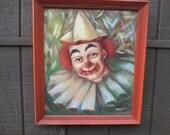 Vintage Mid Century Pierrot Clown Oil Painting artist Fredrick SEATON signed
