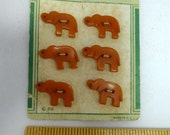 Vintage Bakelite Elephant Buttons, 6 on the card, Fashionable Buttons