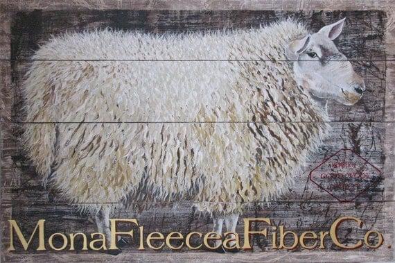 sheep original acrylic painting on reclaimed rustic solid wood Mona Fleecea Fiber Co.