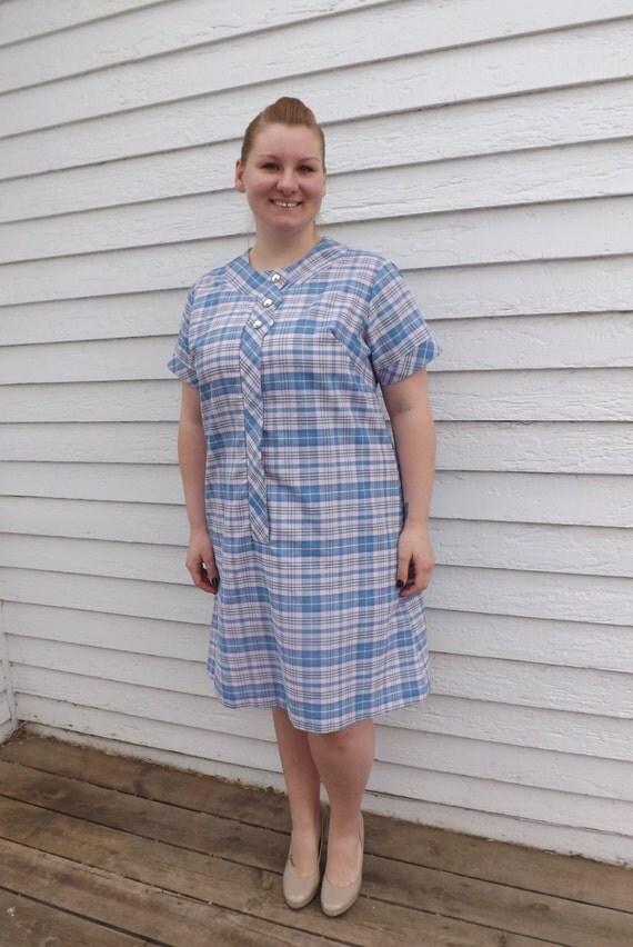Vintage 60s Plaid Print Dress XXL Plus Blue Pink Picnic Camp