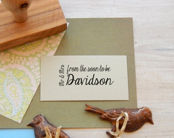 Custom From The Soon-To-Be Mr & Mrs Olive Wood Wedding Stamp