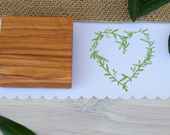 Olive Branch Heart Available in 2 Sizes -  Olive Wood Stamp
