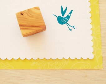 Watercolour Bird Olive Wood Stamp