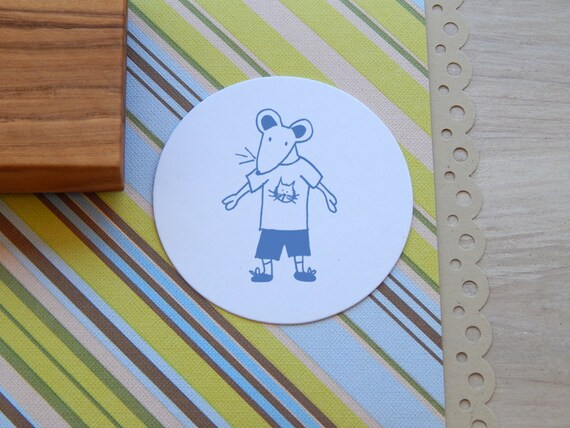 Mouse In T-Shirt  (Male) Olive Wood Stamp