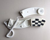 1980s Land Line Telephone - Mod Black & White 80s New Wave Design Realness - The Wave - The Goldbergs chic - Working Condition