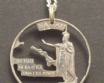 Hawaii, Idaho, Illinois, Indiana, Iowa State Quarter Hand Cut Coin Jewelry