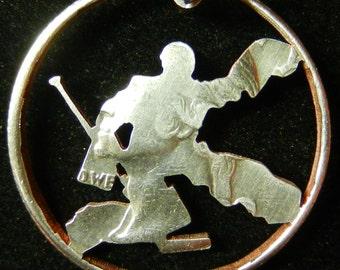 Hockey Goalie Hand Cut Coin Jewelry