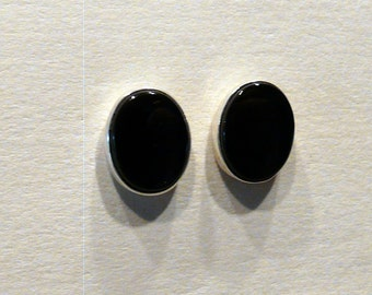Sterling Silver and 7X9mm Black Buff Top Onyx  Studs