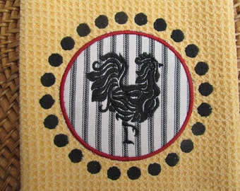 French Rooster and Circle Dots Applique - (Butter) - Black & White Ticking - Microfiber Waffle Weave Kitchen Towel