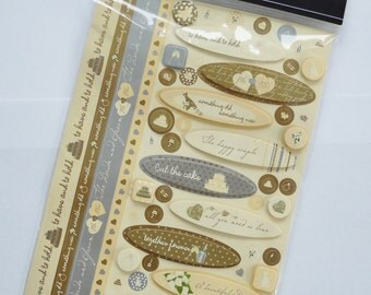 Destash - wedding stickers - Paperchase cream ivory brown - perfect for invitations, cards, gift tags etc