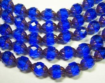 18 10x8mm Czech Glass Faceted Cobalt Blue / bronze Turbine Beads