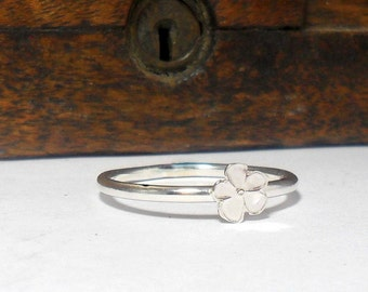 Silver Flower Stacking Ring