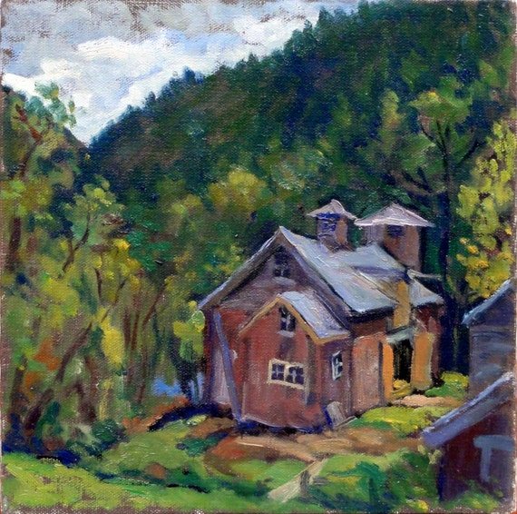 Sheep Hill Barns, Williamstown, Massachusetts. 10x10 Oil Painting on Canvas, Impressionist Berkshires Landscape, Signed Original Fine Art