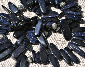 Navy Blue Sun Sitara Stick Necklace