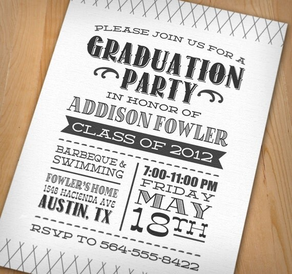 Graduation Party Printable Invitation – Letterpress Party Invitations