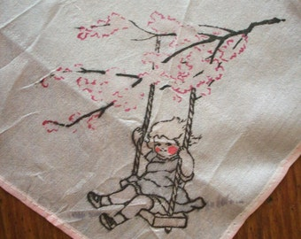 Antique silk hanky child's of a child in a swing 1910s