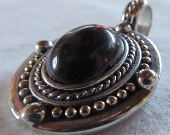 """OVAL PENDANT - resin on metal- focal bead, necklace pendant (1 1/4 x 1 1/2"""")"""