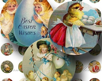 Vintage Easter ON SALE!! Digital Collage Sheet Bunny, Chick, Egg, Cute Victorian Children Digital Download 1 Inch Round #2 INSTANT Download