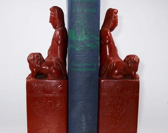 Antique/Vintage Buddha with Temple Dogs Bookends Hand Carved from Red Jasper
