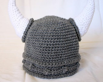 Viking adult women hat teen medium woman size gray white beanie photography prop cap horns braided Norse costume grey soft helmet