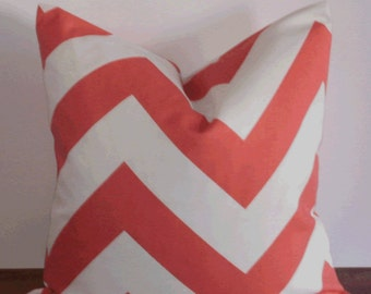 SALE ~ Decorative Pillow:  18 X 18 Designer Accent Throw Pillow Cover in Large Coral Chevron ...Home & Living...Home Decor