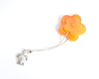 Yellow orange flower keychain and turtle silver tag , resin tag silver chain , silver  turtle accessories , daisy floral charm bracelet