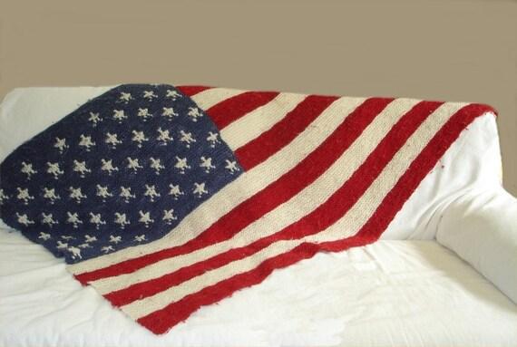 Knitting Pattern American Flag Blanket Pdf Knitting Pattern