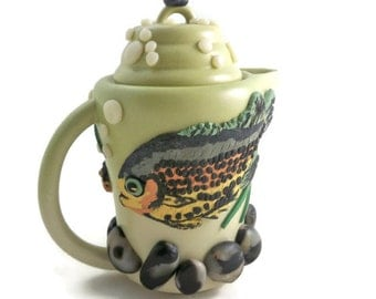 Fish teapot collectible polymer clay art brown trout