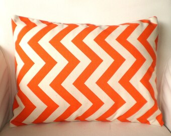 Orange Chevron Lumbar Pillow Cover, Throw Pillow, Cushion Covers, Orange Natural Zig Zag, Pillows Couch Bed Chair,  One 12 x 16 or 12 x 18