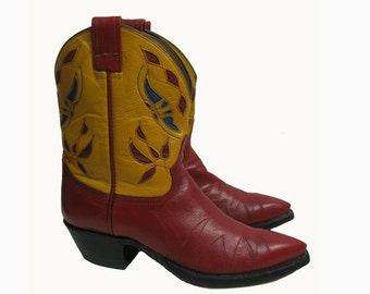 Leather Inlay Cowboy Boots Vintage Womens Attitude Yellow and Red Leather Peewee Western Boots Wms US Size 7 Made In The USA