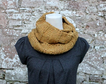 Mustard scarf, chunky womens knitted neckwarmer, gift for her, knitwear UK, infinity scarf