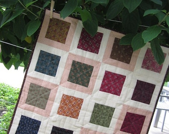 "QUILT, CIVIL WAR Fabrics, 22"" Square,  Table Quilt, Wall Warmer, Traditional, Civil War Reproduction Fabrics, Handmade, Ready To Ship"