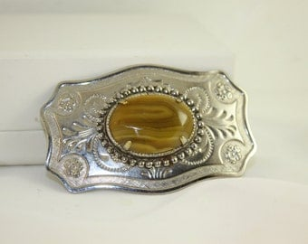 Peanut Butter Striped Agate Vintage  Belt Buckle Small