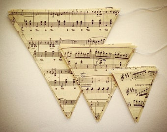 Medium Music Notes Banner - Vintage Sheet Music Decoration - Triangle Bunting Garland - 5 Inch Paper Triangles - Horizontal Musical Notes