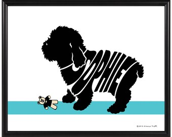 Personalized Cockapoo Silhouette Print, Framed Cockapoo Wall Art, Custom Spoodle Dog Decor