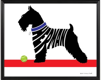 Personalized Miniature Schnauzer Silhouette Print, Framed Dog Name Art, Dog Lover Gift