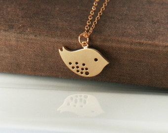 Gold Necklace,Bird Necklace,Small Bird Charm,Delicate Necklace,Simple Necklace,Minimal Necklace,Bridesmaid Gift