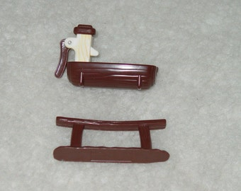 Vintage 1970's Weeble Western Set Hitching Post and Water Trough with Pump Handle Weebles
