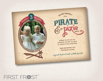 Pirate and Pixie Party Invitation - Boy Girl Twin Party Birthday