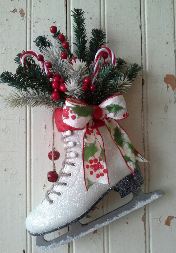 Christmas Decor Decorated Ice Skate Christmas Ice Skate