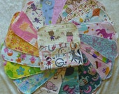 30 Girls Mixed Print, Reusable Cloth Baby Wipes, Cloth Napkins