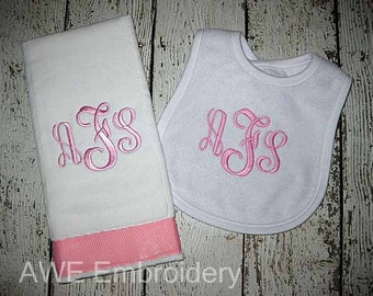 Classic Bib and Burp Cloth Gift Set with Three Letter Monogram for Baby Girl