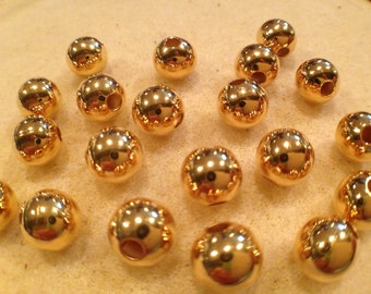 8mm round bead Gold Plated 25pk NICKEL FREE